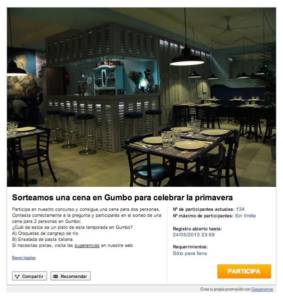 Gana una cena para dos - Gumbo Madrid