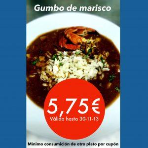 cupón descuento gumbo de marisco - Gumbo Madrid